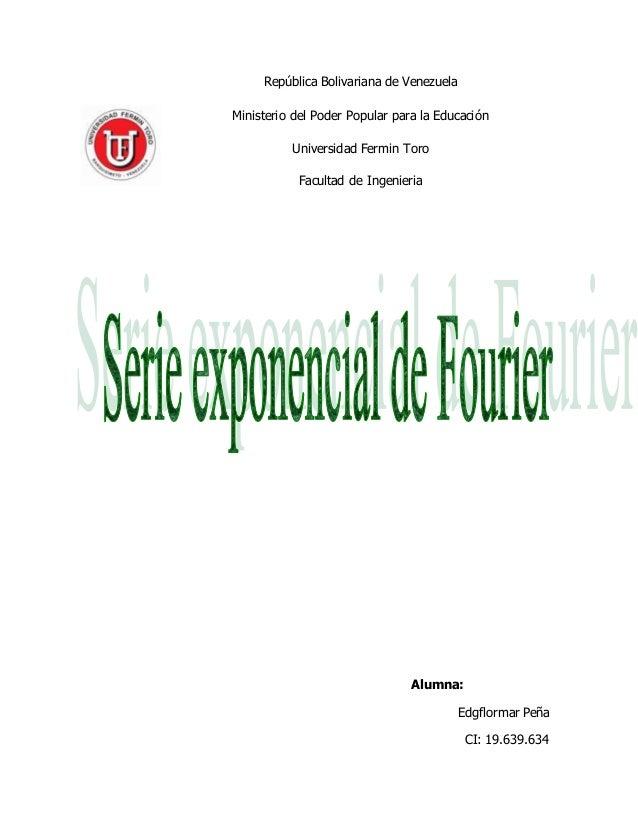 República Bolivariana de Venezuela Ministerio del Poder Popular para la Educación Universidad Fermin Toro Facultad de Inge...
