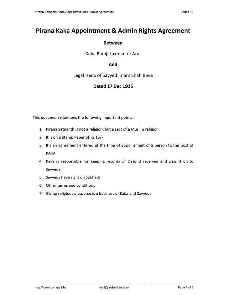 Pirana Satpanth Kaka Appointment and Admin Agreement                               Series 10      Pirana Kaka Appointment ...