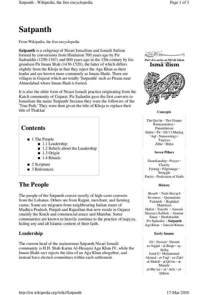 Satpanth - Wikipedia, the free encyclopedia                                                      Page 1 of 3     Satpanth ...