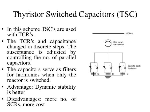 Thyristor Switched Capacitors (TSC) • In this scheme TSC's are used with TCR's. • The TCR's and capacitance changed in dis...