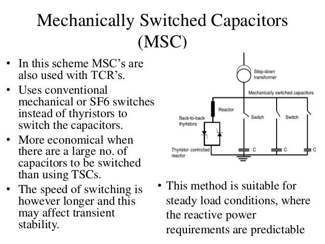 Mechanically Switched Capacitors (MSC) • In this scheme MSC's are also used with TCR's. • Uses conventional mechanical or ...