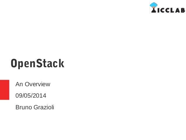 OpenStack An Overview 09/05/2014 Bruno Grazioli