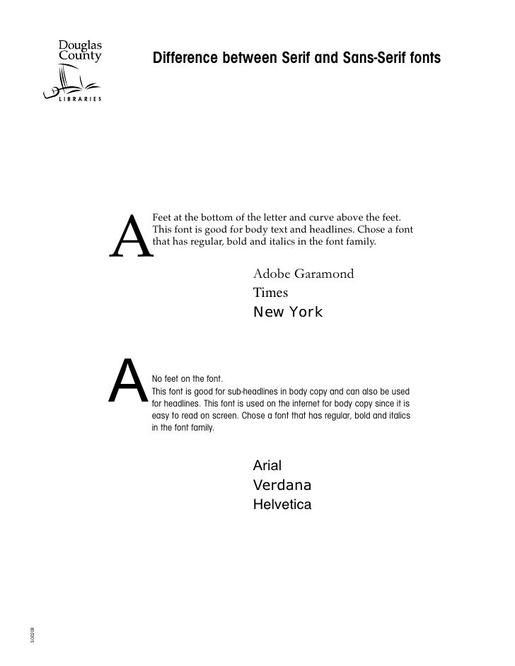 Difference between Serif and Sans-Serif fonts              A              Feet at the bottom of the letter and curve above...