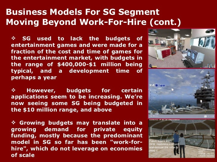 <ul><li>SG used to lack the budgets of entertainment games and were made for a fraction of the cost and time of games for ...