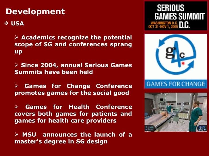 Development <ul><li>USA </li></ul><ul><ul><li>Academics recognize the potential scope of SG and conferences sprang up </li...