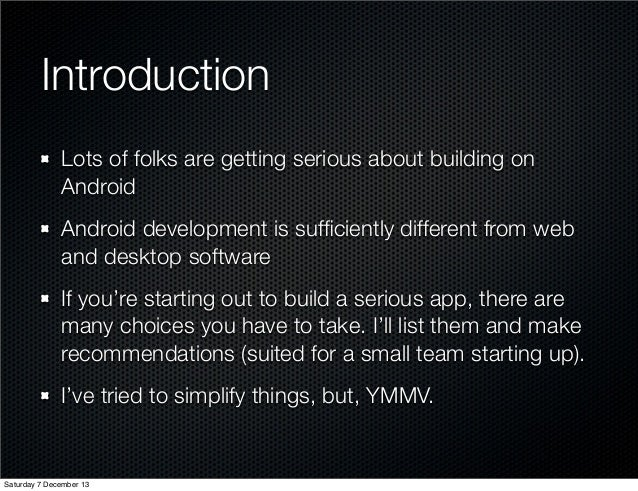 Tools/Processes for serious android app development Slide 2
