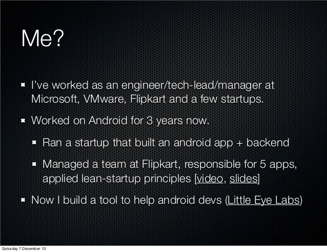 Tools/Processes for serious android app development Slide 3