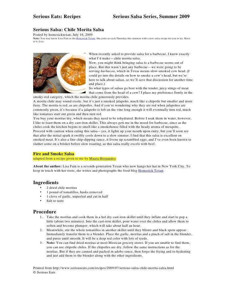 Serious Eats: Recipes                                               Serious Salsa Series, Summer 2009    Serious Salsa: ...