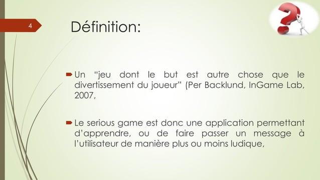 """Définition: Un """"jeu dont le but est autre chose que le divertissement du joueur"""" (Per Backlund, InGame Lab, 2007, Le ser..."""