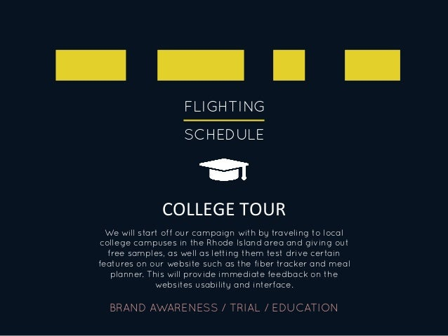 FLIGHTING SCHEDULE COLLEGE  TOUR   BRAND AWARENESS / TRIAL / EDUCATION We will start off our campaign with by travelin...