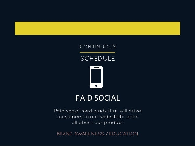 CONTINUOUS SCHEDULE PAID  SOCIAL   BRAND AWARENESS / EDUCATION Paid social media ads that will drive consumers to our ...