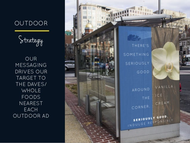 OUTDOOR OUR MESSAGING DRIVES OUR TARGET TO THE DAVES/ WHOLE FOODS NEAREST EACH OUTDOOR AD Strategy