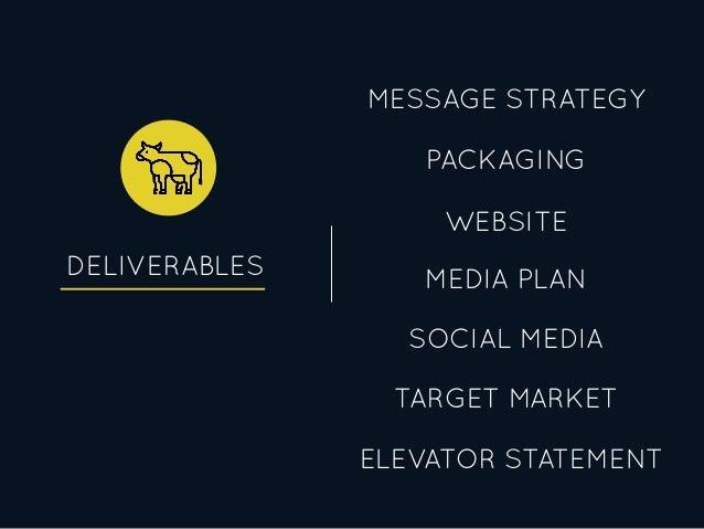 DELIVERABLES PACKAGING MEDIA PLAN WEBSITE SOCIAL MEDIA MESSAGE STRATEGY TARGET MARKET ELEVATOR STATEMENT