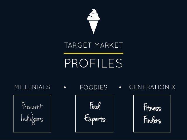 TARGET MARKET PROFILES FOODIESMILLENIALS GENERATION X Frequent Indulgers Food Experts Fitness Finders