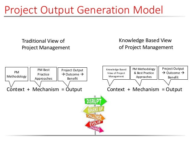 Traditional View of Project Management PM Methodology Project Output  Outcome  Benefit PM Best Practice Approaches Knowl...