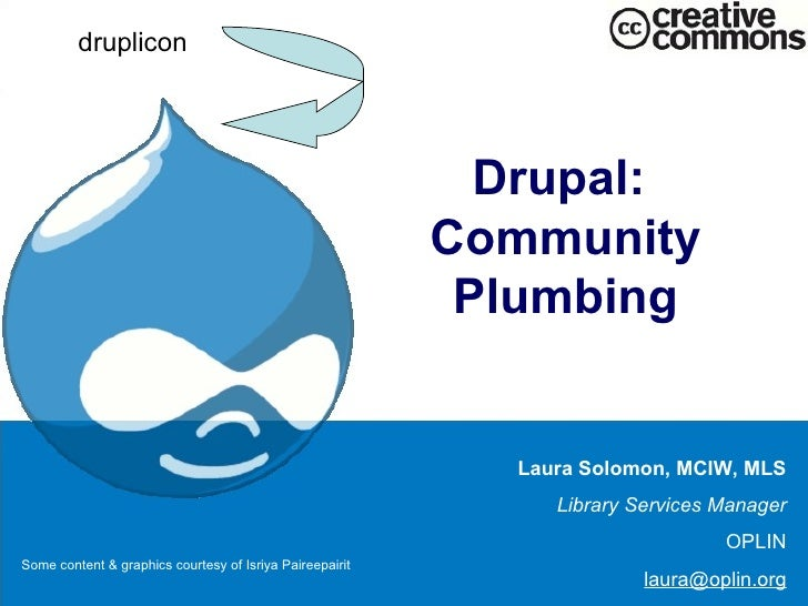 Drupal:  Community Plumbing Laura Solomon, MCIW, MLS Library Services Manager OPLIN [email_address] druplicon Some content...
