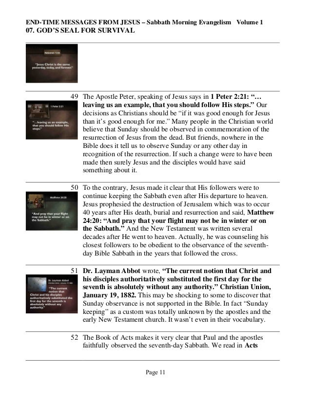 END-TIME MESSAGES FROM JESUS – Sabbath Morning Evangelism Volume 1  07. GOD'S SEAL FOR SURVIVAL  49 The Apostle Peter, spe...