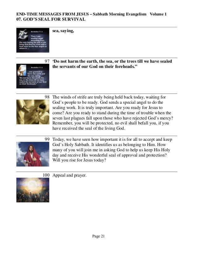 END-TIME MESSAGES FROM JESUS – Sabbath Morning Evangelism Volume 1  07. GOD'S SEAL FOR SURVIVAL sea, saying,  97 'Do not h...