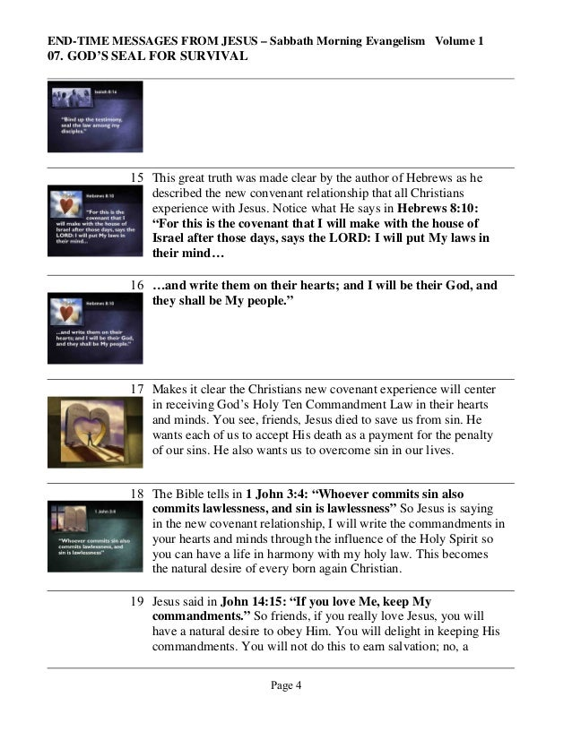 END-TIME MESSAGES FROM JESUS – Sabbath Morning Evangelism Volume 1  07. GOD'S SEAL FOR SURVIVAL  15 This great truth was m...