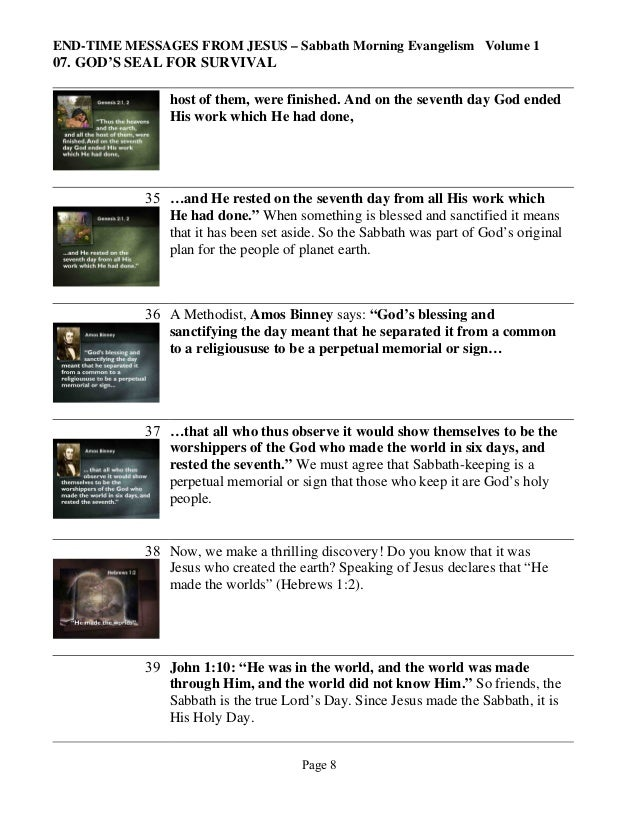 END-TIME MESSAGES FROM JESUS – Sabbath Morning Evangelism Volume 1  07. GOD'S SEAL FOR SURVIVAL host of them, were finishe...