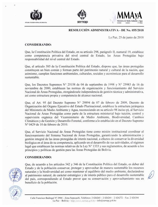 SERNAP.Resolución administrativa del 25 de junio de 2018