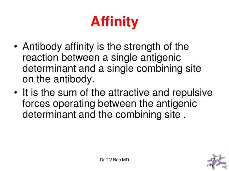 Affinity• Antibody affinity is the strength of the  reaction between a single antigenic  determinant and a single combinin...