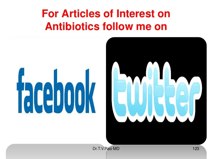 For Articles of Interest onAntibiotics follow me on          Dr.T.V.Rao MD       123