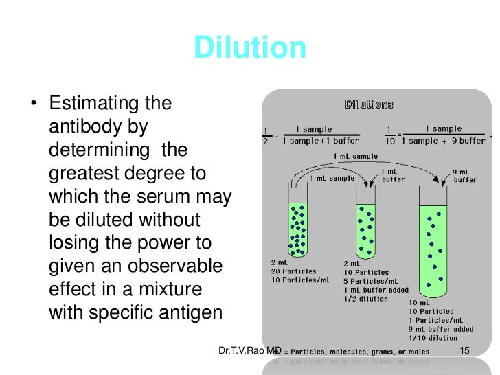 Dilution• Estimating the  antibody by  determining the  greatest degree to  which the serum may  be diluted without  losin...