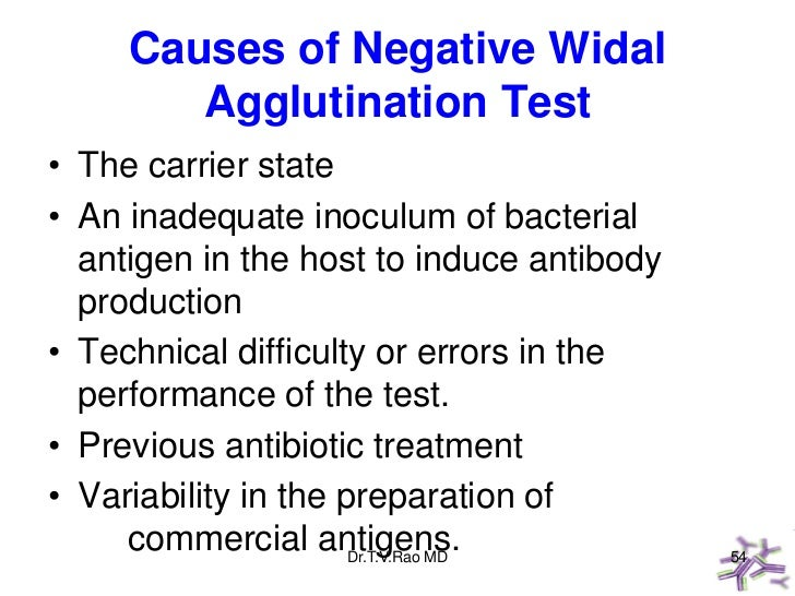 Causes of Negative Widal        Agglutination Test• The carrier state• An inadequate inoculum of bacterial  antigen in the...