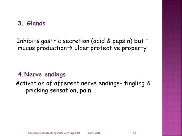 3. Glands Inhibits gastric secretion (acid & pepsin) but ↑ mucus production ulcer protective property 4.Nerve endings Act...