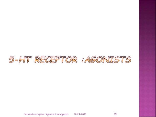 12/24/2016 29Serotonin receptors: Agonists & antagonists