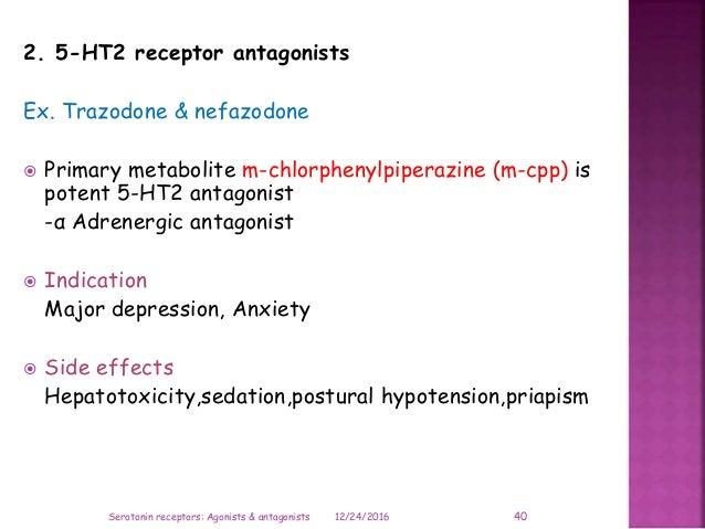 2. 5-HT2 receptor antagonists Ex. Trazodone & nefazodone  Primary metabolite m-chlorphenylpiperazine (m-cpp) is potent 5-...
