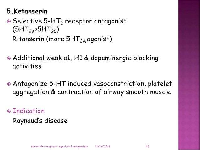 5.Ketanserin  Selective 5-HT2 receptor antagonist (5HT2A>5HT2C) Ritanserin (more 5HT2A agonist)  Additional weak α1, H1 ...