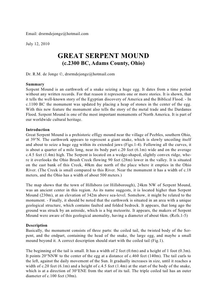 Email: drsrmdejonge@hotmail.com  July 12, 2010                     GREAT SERPENT MOUND                      (c.2300 BC, Ad...