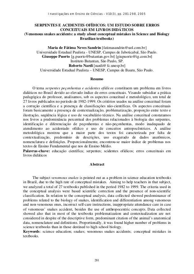 Investigações em Ensino de Ciências – V10(3), pp. 281-298, 2005281SERPENTES E ACIDENTES OFÍDICOS: UM ESTUDO SOBRE ERROSCON...