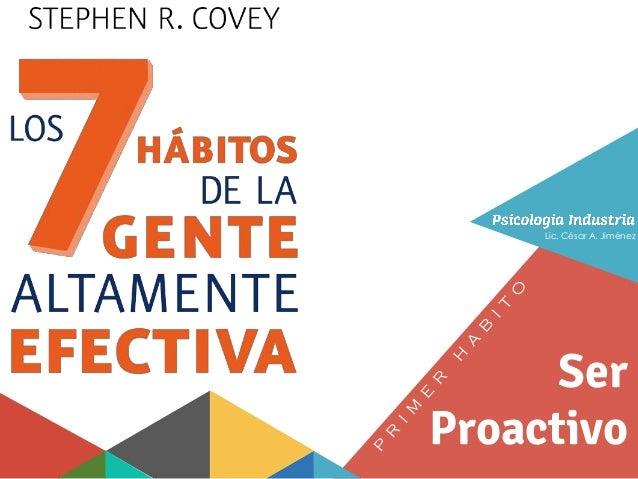 Primer Habit Ser Proactivo Ser Proactivo Lic. César A. Jiménez