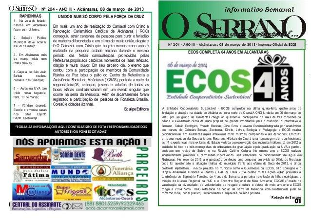 thNA00000000000000000000000000 sssaf ECOS COMPLETA 04 ANOS EM ALCANTARAS A Entidade Cooperativista Sustentável - ECOS comp...