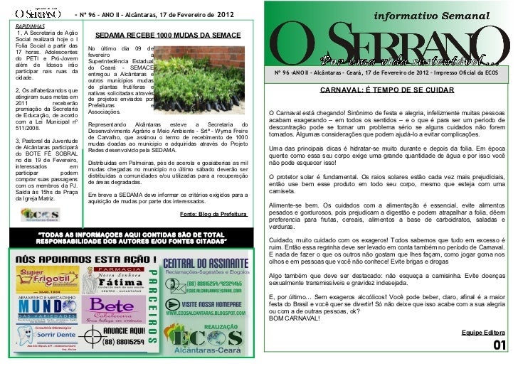 - Nº 96 – ANO II - Alcântaras, 17 de Fevereiro de 2012RAPIDINHAS 1, A Secretaria de Ação      SEDAMA RECEBE 1000 MUDAS DA ...
