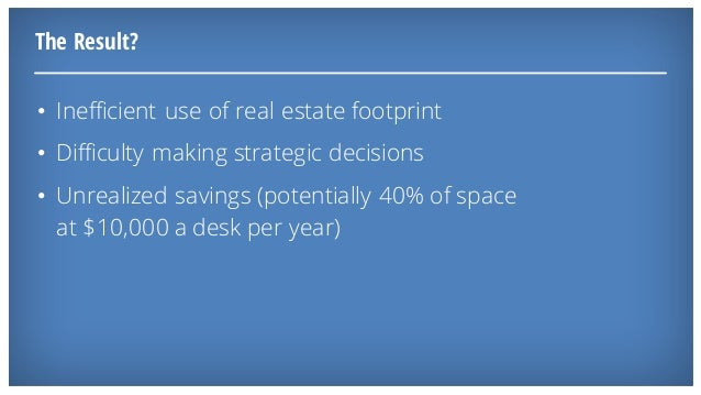 The Result? • Inefficient use of real estate footprint • Difficulty making strategic decisions • Unrealized savings (poten...