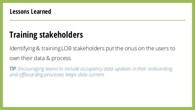 Lessons Learned Training stakeholders Identifying & trainingLOB stakeholders put the onus on the users to own their data &...