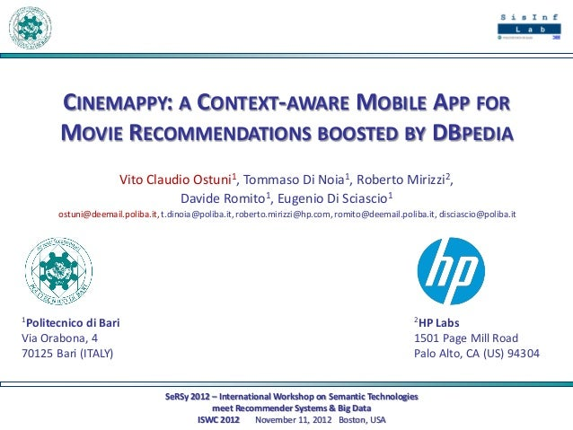 CINEMAPPY: A CONTEXT-AWARE MOBILE APP FOR       MOVIE RECOMMENDATIONS BOOSTED BY DBPEDIA                      Vito Claudio...