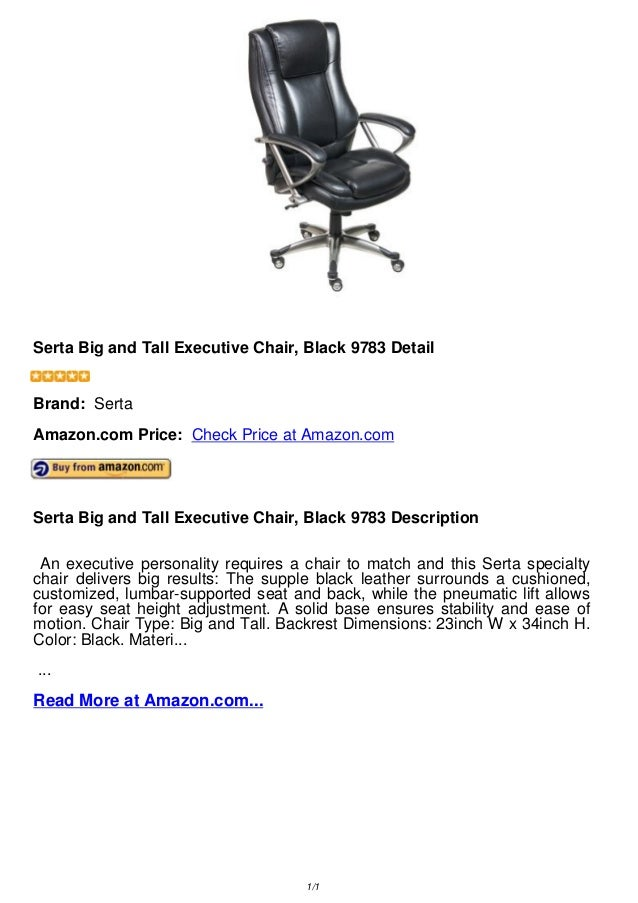 Serta Big And Tall Executive Chair, Black 9783 DetailSerta Big And Tall  Executive Chair,
