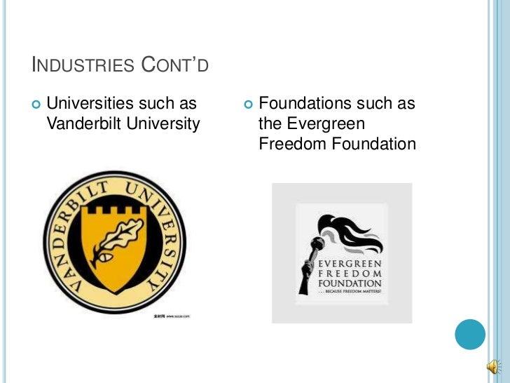 INDUSTRIES CONT'D   Universities such as       Foundations such as    Vanderbilt University       the Evergreen         ...