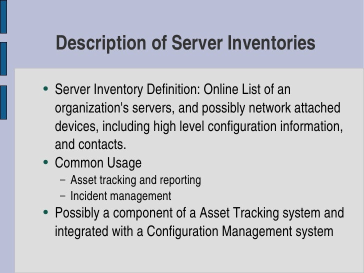 Server Inventory Using Free, Open Source, and Proprietary Tools