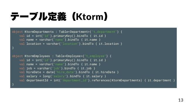 """テーブル定義(Ktorm) object KtormDepartments : Table<Department>(""""t_department"""") { val id = int(""""id"""").primaryKey().bindTo { it.id..."""