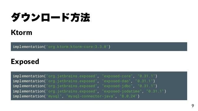 """ダウンロード⽅法 Ktorm implementation(""""org.ktorm:ktorm-core:3.3.0"""") Exposed implementation(""""org.jetbrains.exposed"""", """"exposed-core""""..."""
