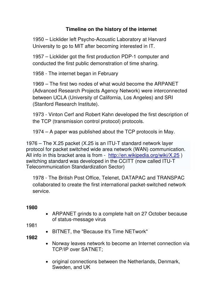 Timeline on the history of the internet     1950 – Licklider left Psycho-Acoustic Laboratory at Harvard    University to g...