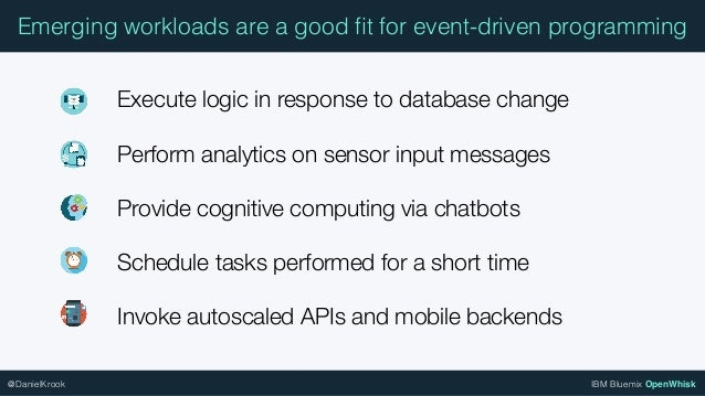 IBM Bluemix OpenWhisk@DanielKrook Emerging workloads are a good fit for event-driven programming Execute logic in response ...