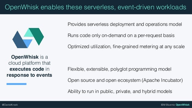 IBM Bluemix OpenWhisk@DanielKrook OpenWhisk is a cloud platform that executes code in response to events OpenWhisk enables...