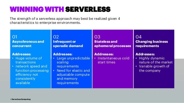 4 Serverless Computing WINNING WITH SERVERLESS The strength of a serverless approach may best be realized given 4 characte...
